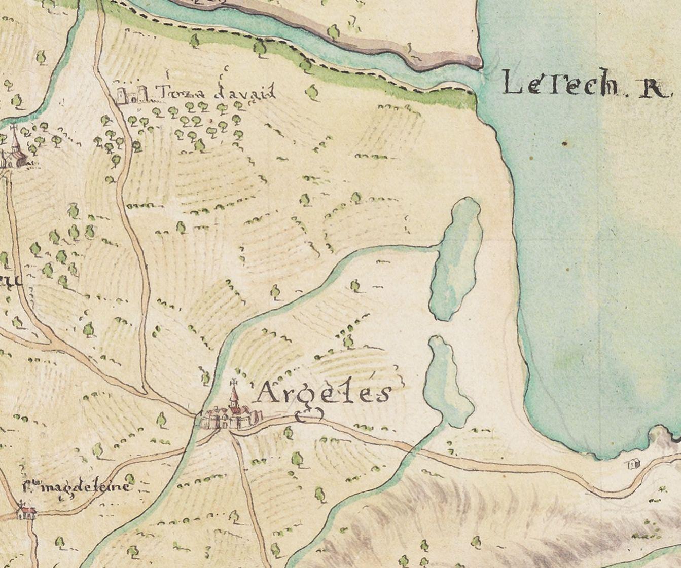 12 1748 carte militaire de la province du roussillon - Le Racou vu d'en haut - Cartes géographiques