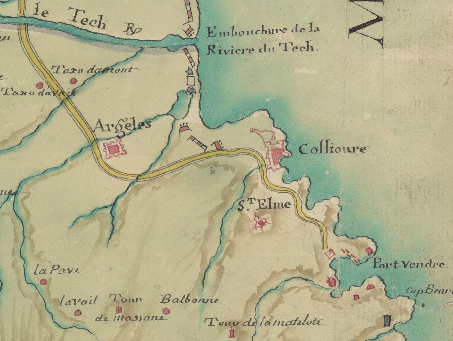 16 1787 carte en forme de cadastre du roussillon - Le Racou vu d'en haut - Cartes géographiques