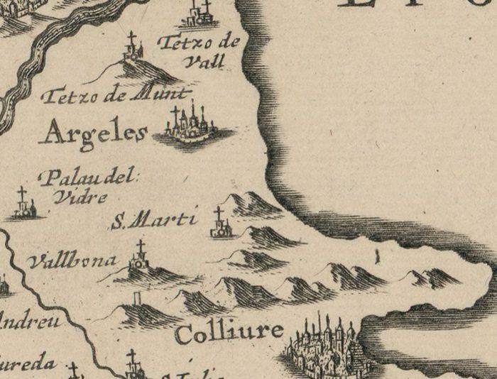 4 1662 comitatus ruscinonis vulgo roussillon in quo episcopatus helenensis gallice evesche d elne ou de perpignan e1521982225848 - Le Racou vu d'en haut - Cartes géographiques