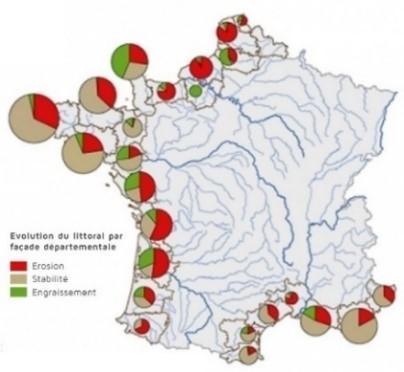 carte de france - L'érosion du littoral en France