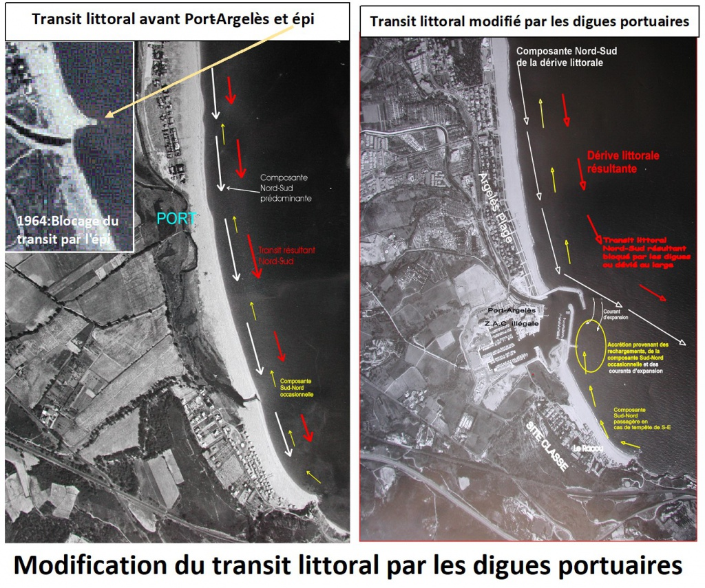 modification du transit par les digues 1024x855 - Les causes de l'érosion de la plage du Racou