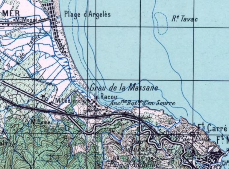 1950 grau de la massane - Le Racou vu d'en haut - Cartes géographiques