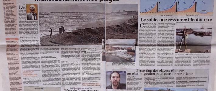 Article de l'Indépendant sur l'érosion du littoral