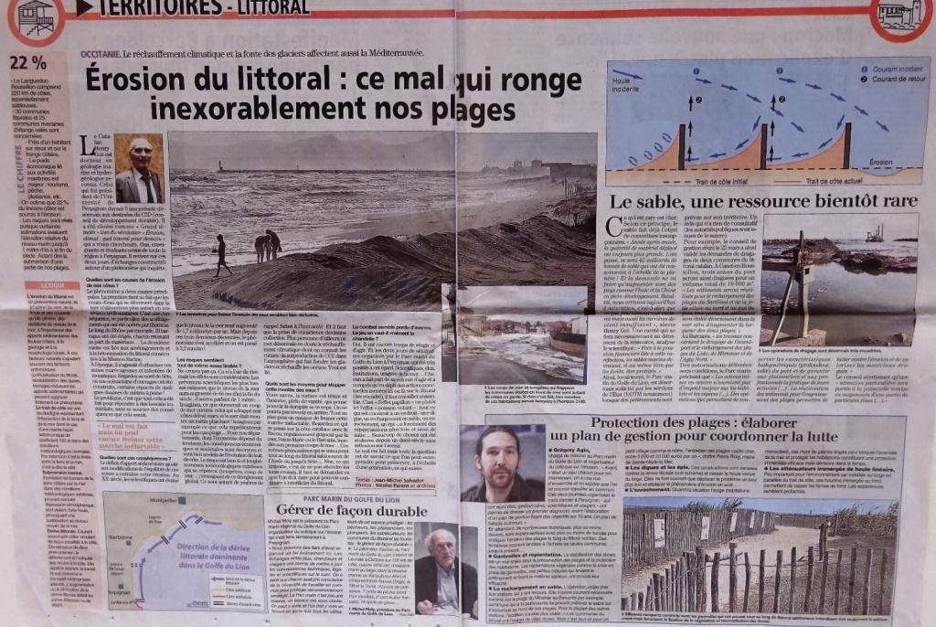 erosion littoral - Article de l'Indépendant sur l'érosion du littoral